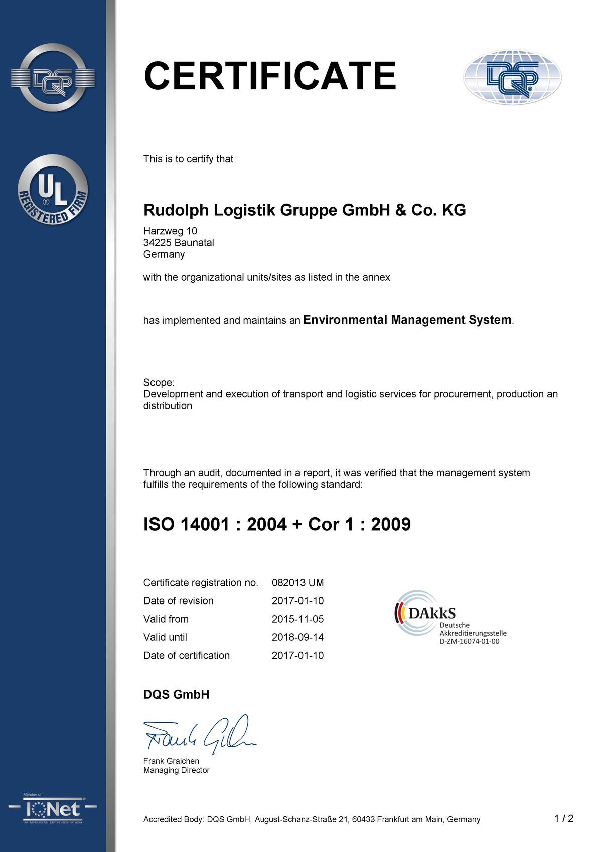 Alle qualitts zertifikate im berblick und zum download rudolph matrix certification din iso 14001 2004 xflitez Choice Image